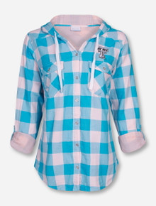 """Columbia Texas Tech """"Times Two"""" Blue Flannel Hooded Button Up Shirt"""