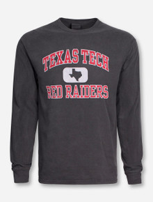 Texas Tech Distressed State Tab on Charcoal Long Sleeve Shirt