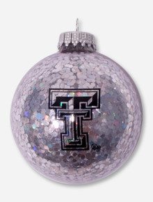 Texas Tech Double T Silver Glitter Ornament