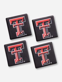 Texas Tech Double T Black Leatherette Coaster Set