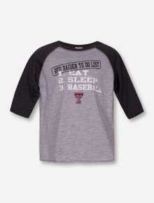 "CI Sport Texas Tech ""Eat Sleep Baseball"" TODDLER Heather Grey Raglan"
