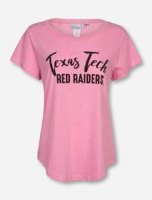 Livy Lu Texas Tech on Pink Baseball Hem T-Shirt