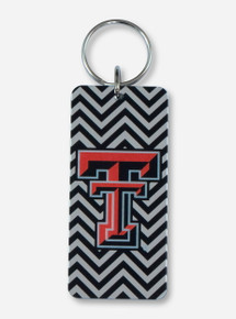 Texas Tech Double T Black & Silver Chevron Keychain