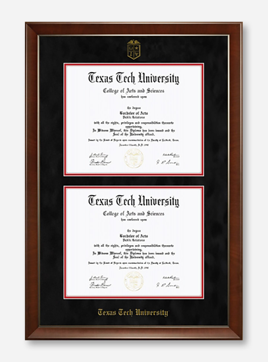 Texas Tech Red Raiders Black Suede Double Mat Diploma Frame T16