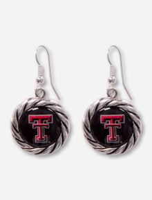 Texas Tech Double T Rope Border Silver Earrings