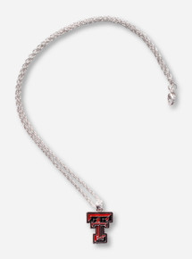 Texas Tech Embossed Silver Enameled Double T Pendant Silver Necklace