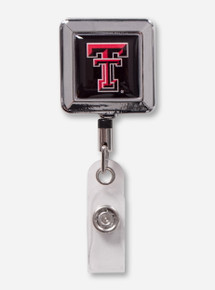 Texas Tech Chrome Border Double T Square Retractable ID Badge Holder