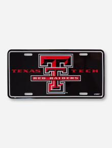 Texas Tech Red Raiders Double T Embossed Black Gloss Decorative License Plate Cover