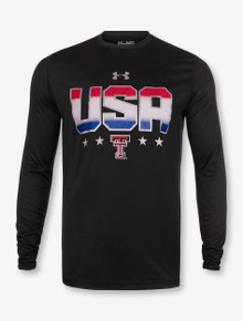 Under Armour Red White and Blue USA on Black Long Sleeve
