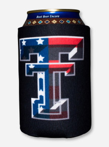 American Flag Double T on Black Can Cooler - Texas Tech