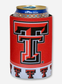 Double T & Rhinestone Texas Tech on Red Can Cooler