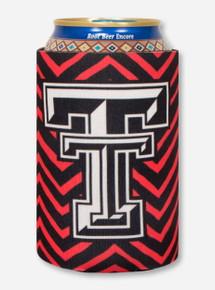 Texas Tech Double T on Black & Red Chevron Koozie