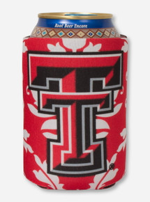 Texas Tech Double T on Black & White Damask Can Cooler