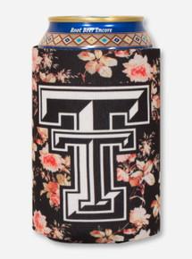 Texas Tech Double T on Black Tea Rose Koozie