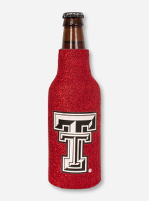 Texas Tech Double T on Metallic Red Bottle Koozie