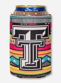 Texas Tech Double T on Multicolored Mara Pattern Koozie