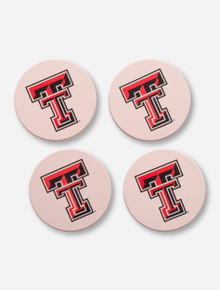 Texas Tech Red Raiders Double T 4 Pack Coaster with Bamboo Holder