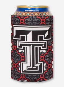 Double T on Red & Charcoal Morocco Pattern Koozie - Texas Tech