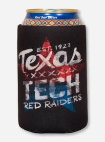 Texas Tech Lone Star Pride & Distressed Star on Black Koozie
