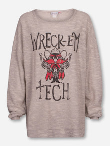 Livy Lu Texas Tech Red Raiders Wreck 'Em Oversized Terry Loop Sweatshirt