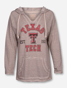 Blue 84 Texas Tech Red Raiders Striped French V Neck Hoodie