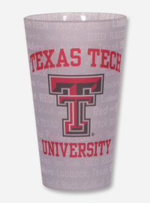 Texas Tech Red Raiders Frosted Text Pattern Pint Glass