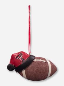 Texas Tech Red Raiders Football with Santa Hat Christmas Ornament