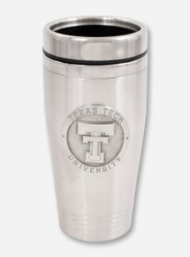 Texas Tech Heritage Pewter Double T Emblem on Stainless Steel Travel Mug