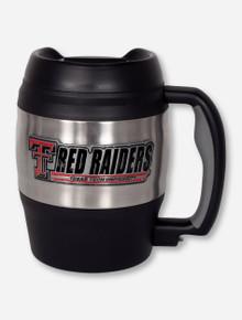 Texas Tech Metal Emblem on Gigantic Stainless Steel & Black Travel Mug