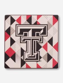 Texas Tech Red Raiders Double T on Geometric Ceramic Coaster