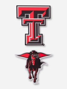 Texas Tech Red Raiders Double T and Masked Rider 2 Pack Magnet