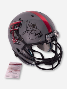 Schutt Texas Tech Grey Replica Helmet Signed by Kliff Kingsbury