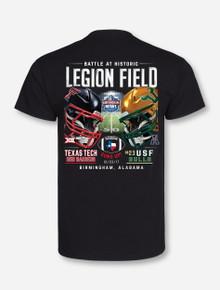 """Texas Tech Red Raiders vs. USF Birmingham Bowl """"Dueling Helmets"""" T-Shirt"""