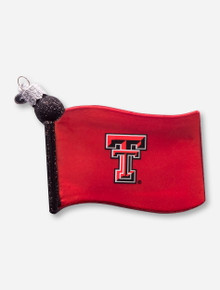 Texas Tech Red Raiders Glass Blown Flag Ornament