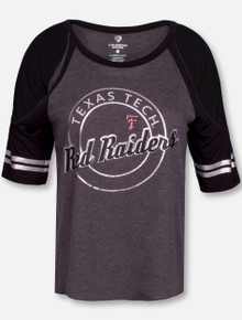"Arena Texas Tech Red Raiders ""Mae"" Cold Shoulder Charcoal Shirt"