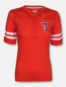 Pressbox Texas Tech Red Raiders Rhinestone Double T 3/4 Sleeve T-Shirt