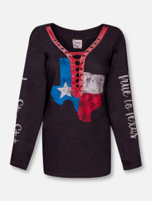 "Pressbox Texas Tech Red Raiders State of Texas ""Boot Lace"" V-Neck Long Sleeve Tee"