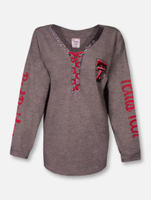 "Pressbox Texas Tech Red Raiders Double T ""Boot Lace"" V-Neck Long Sleeve Tee"