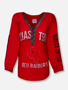"Pressbox Texas Tech Red Raiders ""Boot Lace"" V-Neck Long Sleeve Tee"