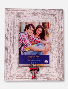 "Churchill Classics Texas Tech Red Raiders Double T Barnwood White Washed 5""x7"" Vertical Frame"