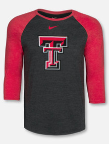 Nike Texas Tech Red Raiders Big Double T 3/4 Sleeve Raglan Tshirt