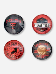 Set of Four Texas Tech Vintage-Inspired Glass Magnets