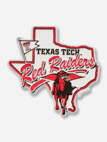 Texas Tech Red Raiders, Masked Rider & Texas on White Magnet