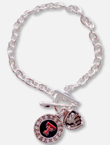 FTH Texas Tech Red Raiders Texas Tech Crystal Double T Logo with Baseball Glove, Bat and Ball Charm Bracelet