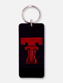 Laser Magic Texas Tech Red Raiders Double T on Black Multi-Use Mirror Keychain