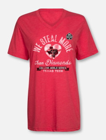 "Texas Tech Baseball ""Stealing Diamonds"" 2018 CWS Red V-neck T-shirt"
