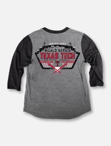 "Texas Tech Baseball ""Turn Two"" 2018 CWS Grey 3/4 Sleeve Raglan T-shirt"
