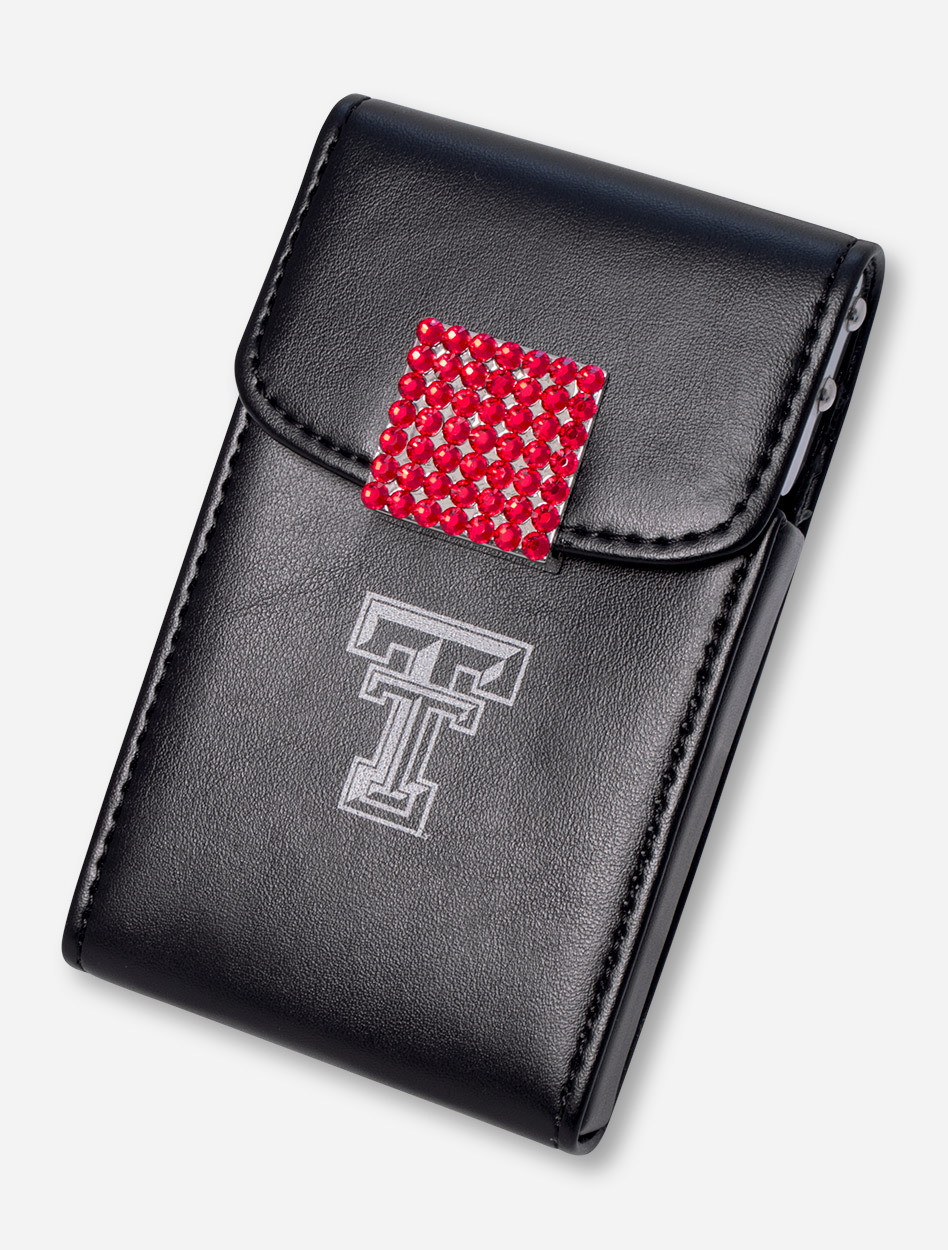 Texas tech red rhinestone accented black leather business card case image 1 colourmoves