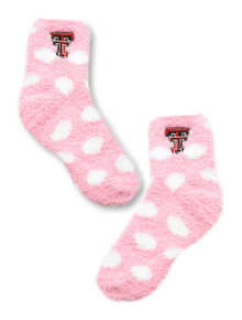 ZooZatz Texas Tech Red Raiders Polka Dot Pink Fuzzy Socks