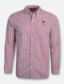 """Cutter & Buck Texas Tech """"Gilman"""" Plaid Long Sleeve Dress Shirt"""